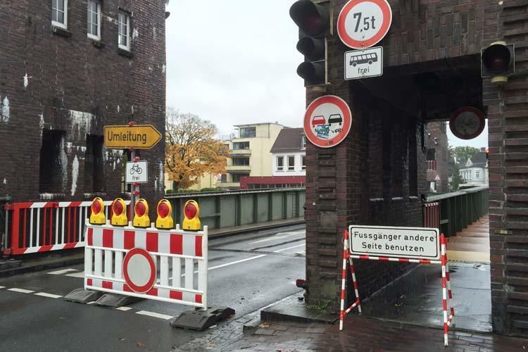 Die Oldenburger Cäcilienbrücke wird vom 11. Januar bis voraussichtlich 19. Januar für den Autoverkehr gesperrt.